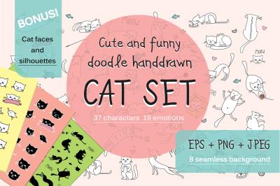 Huge set of doodle funny cats