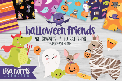 Halloween Friends Clip Art and Patterns
