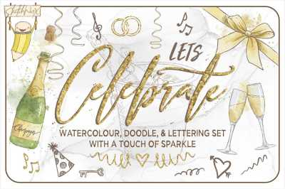 Lets Celebrate - Watercolour, Doodle & Lettering Set