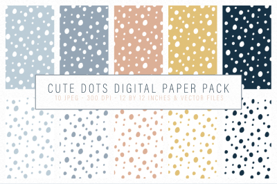 Cute Dots digital paper- vector seamless tiling patterns