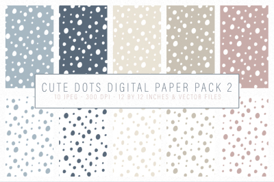 Cute Dot Patterns - digital paper vector