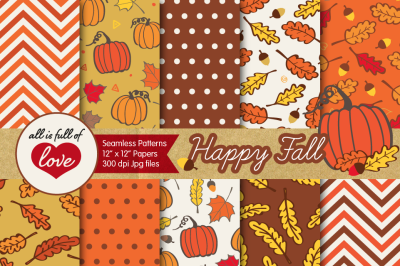 Happy Fall Digital Paper Pack Autumn Backgrounds Seamless Patterns