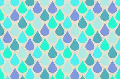 Teal and purple water drops seamless pattern