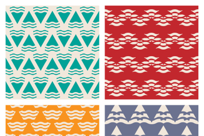 Set of vector abstract geometric seamless patterns