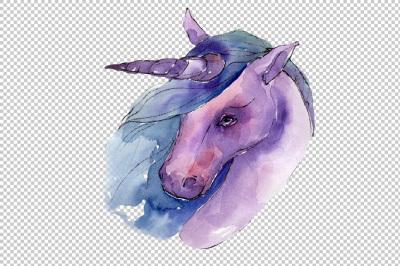 Sweet purple unicorn horse PNG watercolor set