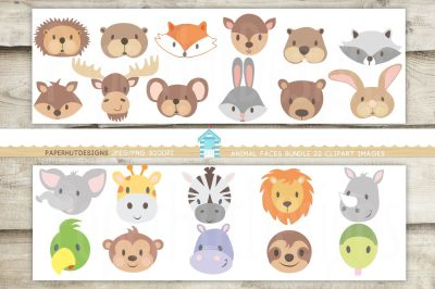 Animal Faces Clipart Bundle