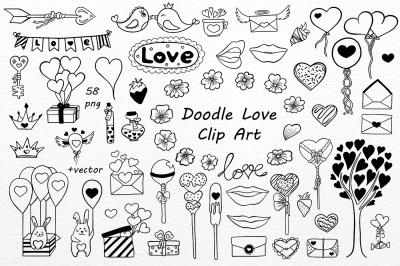 Doodle Love Clip art, love doodles clipart