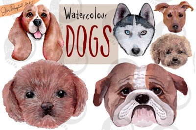 Hand Painted Watercolor Dogs | Clip Art | PNG/JPEG