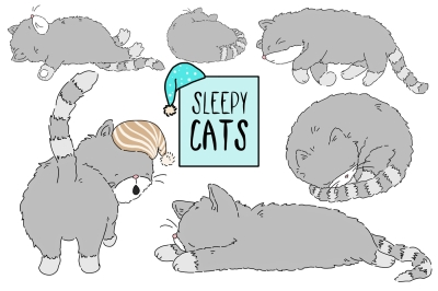 Sleepy Cats CLIP ART