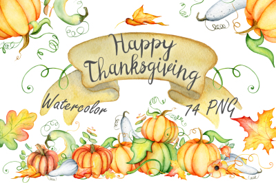 Thanksgiving pumpkins Fall watercolor Autumn clipart