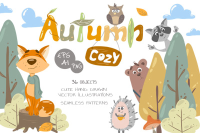 Cozy Autumn vector animals kit