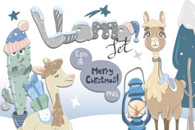 Merry Christmas Llamas vector kit