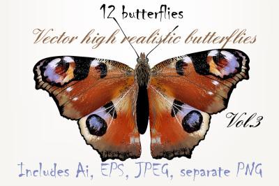 Set of vector butterflies Vol.3