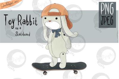 Toy Rabbit on a Skateboard | Clip art illustration |PNG/JPEG