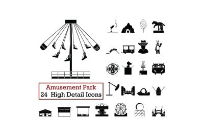 Set of 24  Amusement Park Icons