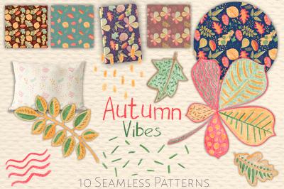 Autumn Leaves Seamless Patterns