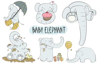 Baby Elephant | CLIP ART illustrations | PNG/JPEG