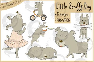 Little Scruffy Dog | 6 cute dog clip art illustrations