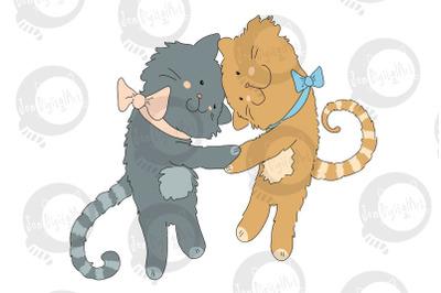 Hugging Cats - Best Friends CLIP ART | PNG/JPEG