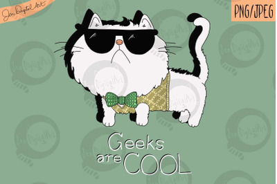 Geeks Are Cool | Cute Cat T shirt Design | PNG/JPEG