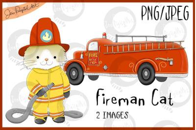 Fireman Cat | Firetruck | PNG/JPEG | Clip Art illustrations