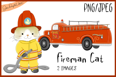 Fireman Cat | Firetruck | PNG/JPEG | Clip Art illustration