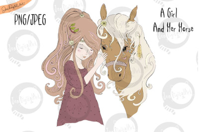 A Girl And Her Horse | JPEG/PNG | Clip Art Illustration