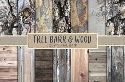 Tree bark and wood textures