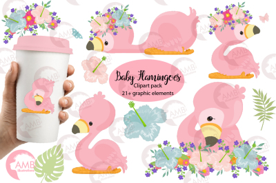 Cute flamingos clipart pack AMB-2470
