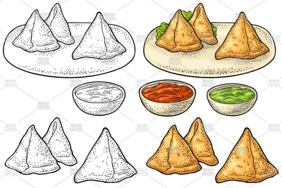 Samosa on plate with sauces in bowl.