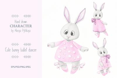 Cute bunny ballet dancer