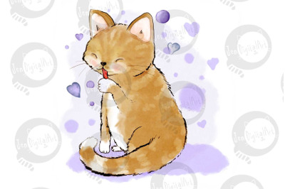 Cute Cat Licking Her Paw | JPEG ILLUSTRATION