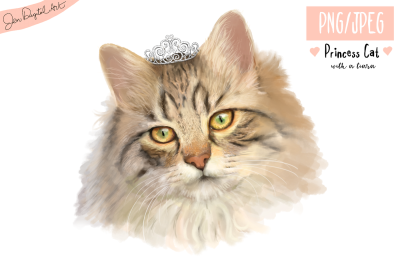 Lifelike 'Princess Cat with a Tiara' | PNG/JPEG illustration