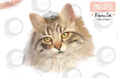 Lifelike 'Princess Cat with a Tiara' | PNG/JPEG illustration