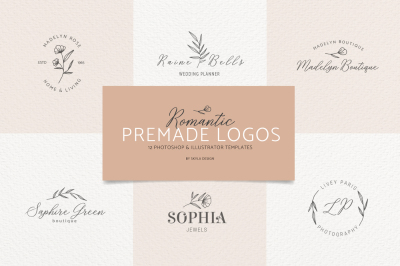 Romantic feminine premade logo bundle templates