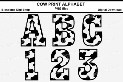Cow Print Alphabet Clipart, PNG files