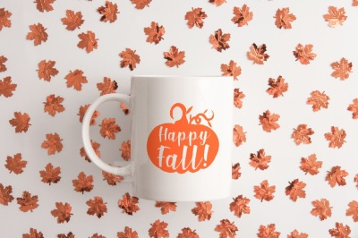 Autumn fall coffee mug mockup white cup mock up psd Halloween mockups