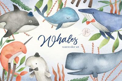 Whales Watercolor Set