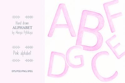 Pink Alphabet - Watercolor set