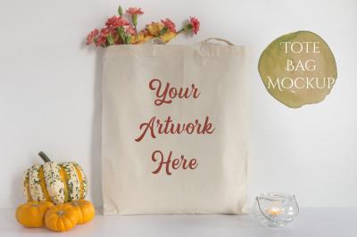 Tote Bag Mockup - Pumpkins