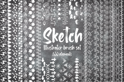 Sketch illustrator brush BUNDLE + 100 ELEMENTS