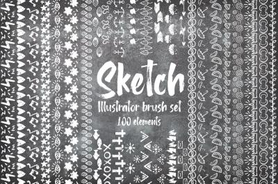 Sketch illustrator brush BUNDLE + 100 ELEMENTS