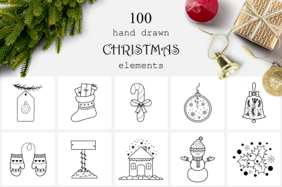 100 Hand Drawn Christmas Elements