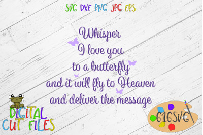 Whisper I love you to a butterfly SVG, DXF, PNG, Ai, JPG EPS