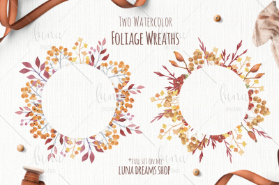 2 FOLIAGE WATERCOLOR WREATHS