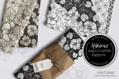 Black & White Hibiscus Design Set