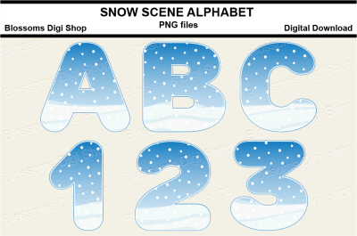 Snow Scene Alphabet Clipart, PNG files