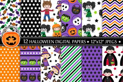 Halloween digital papers&2C; Halloween papers&2C; Halloween patterns