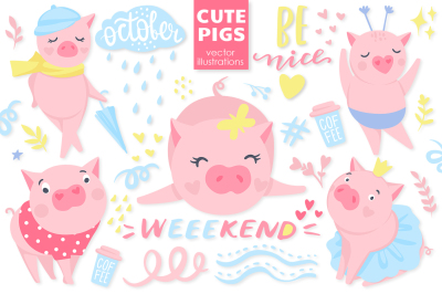 Cute vector pigs.