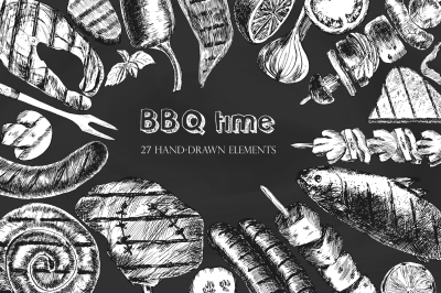 Time barbecue / graphic set